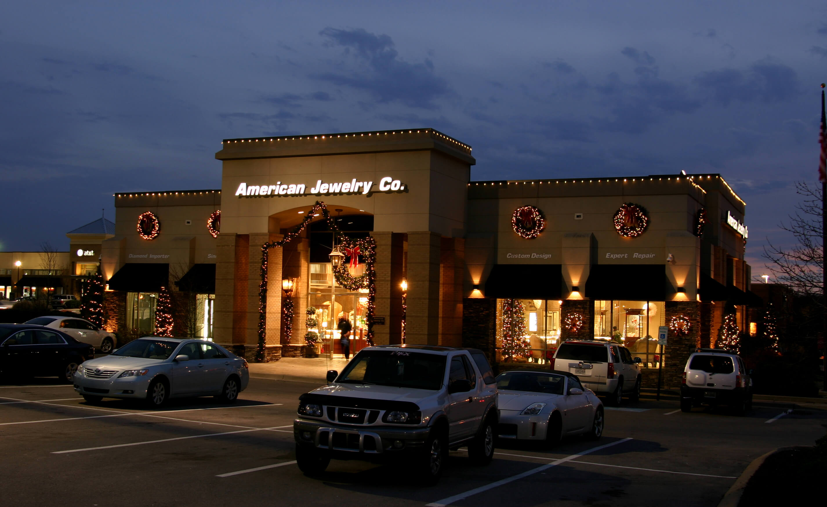 American Jewelry Co. Building with Christmas lights
