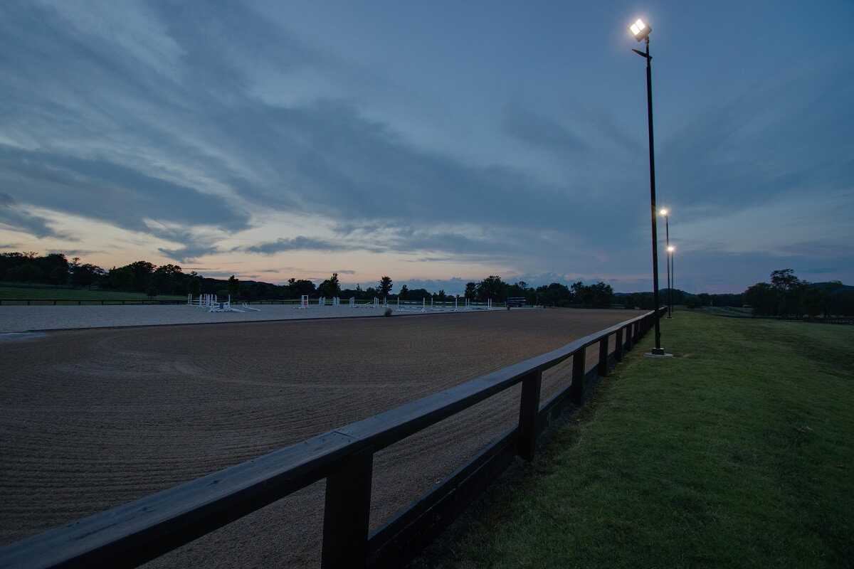 Horse riding arena lighting