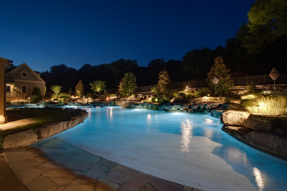 pool lighting and surrounding landscape lighting