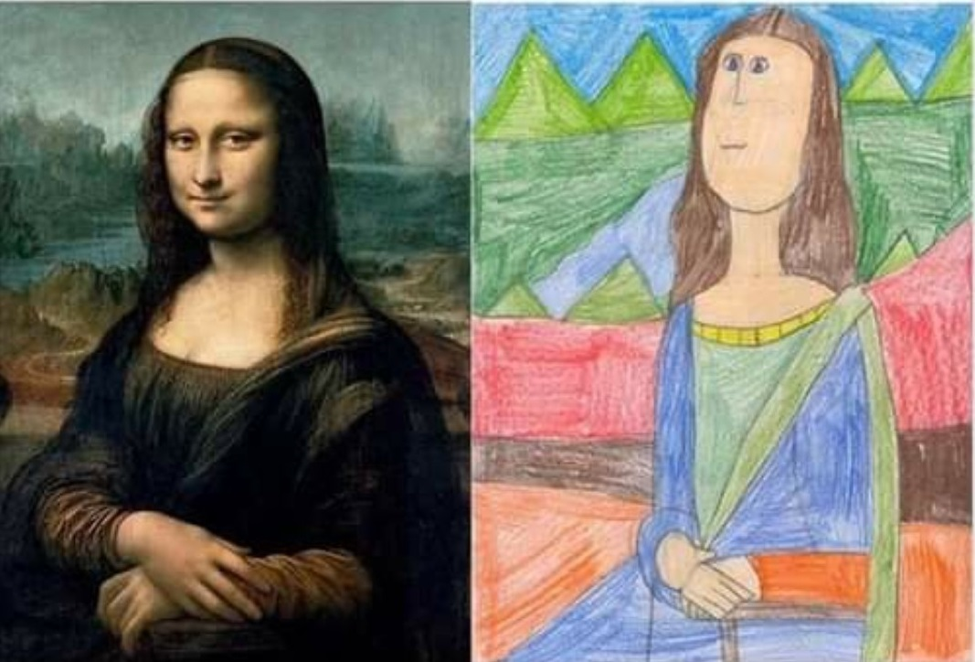 side by side painting and drawing of Mona Lisa
