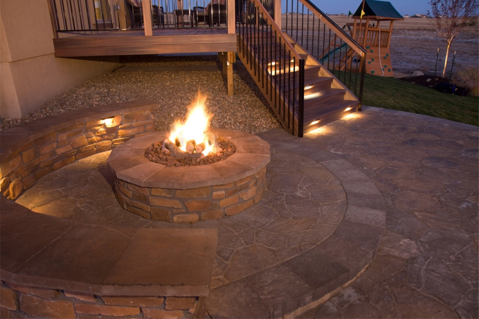 outdoor seating lighting around fire pit