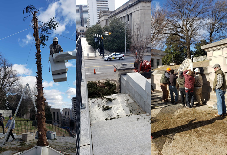 Nashville capitol Christmas tree removal and recycling