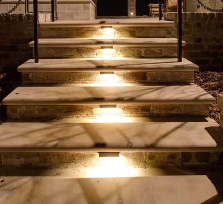 stairway with lighting under steps