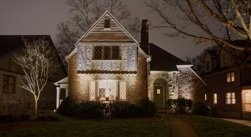 home at night with illumination lighting
