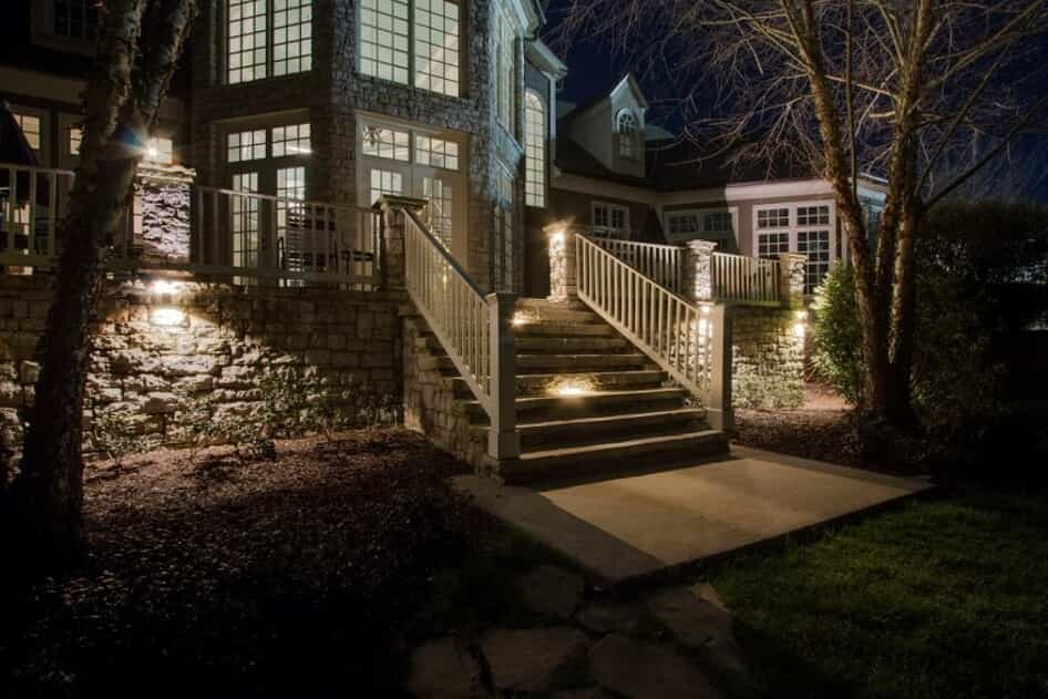 home patio at night time with illumination lighting