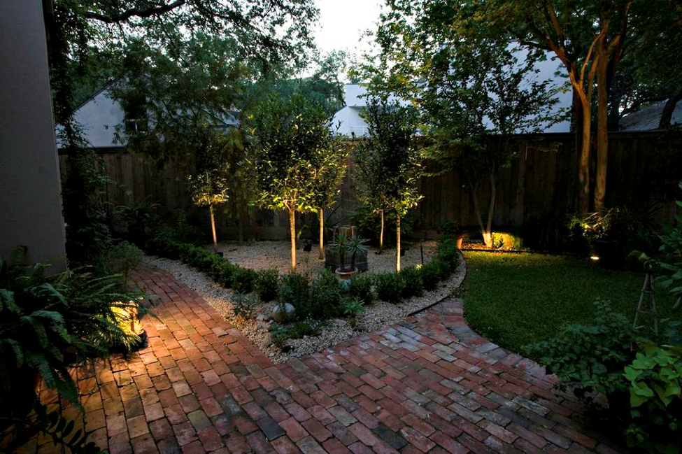 backyard path and trees illuminated by OLP lighting