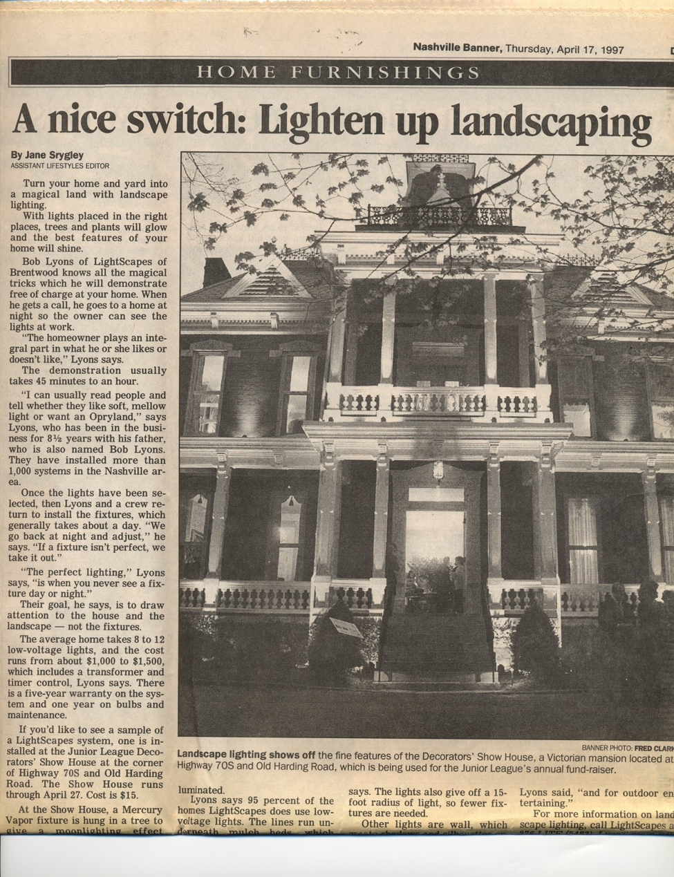 newspaper clipping about outdoor lighting