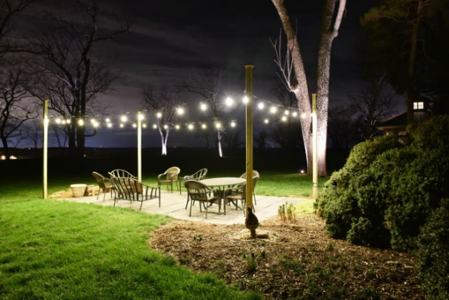 outdoor string lighting over patio