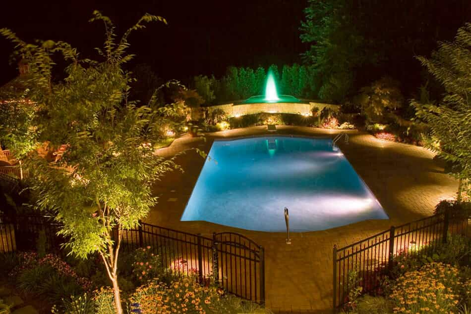 Pool and water feature with professional lighting