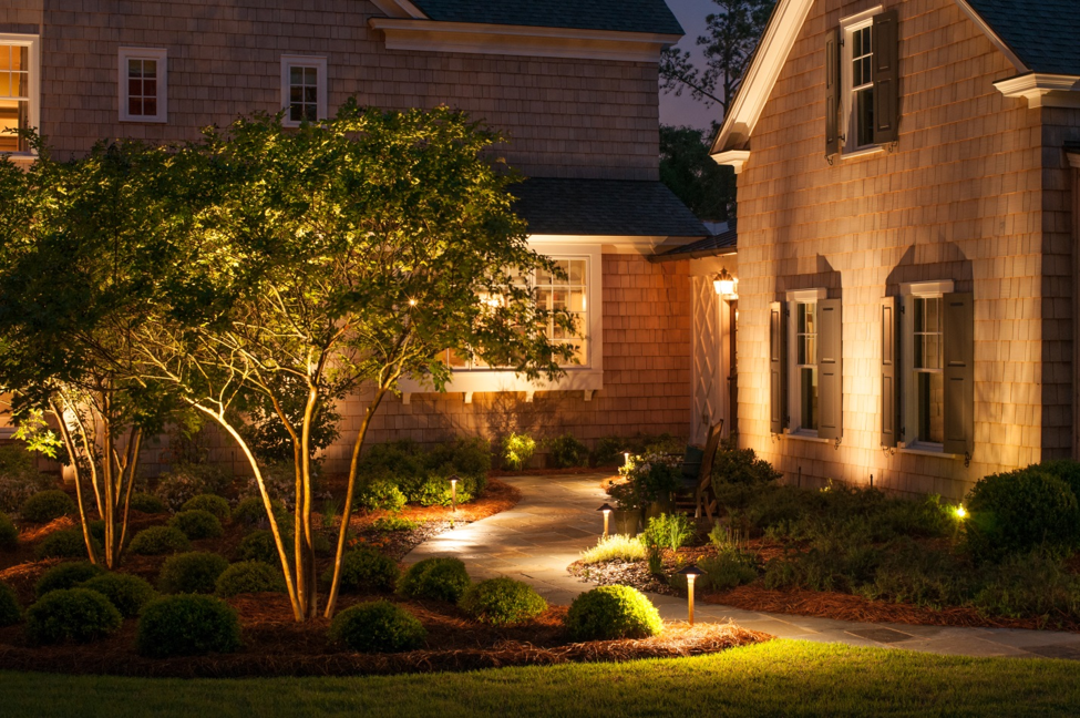path lighting in backyard of house as well as landscape lighting