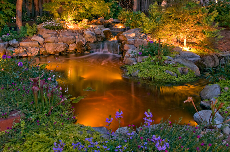 Rock-walled pond with specialty lighting