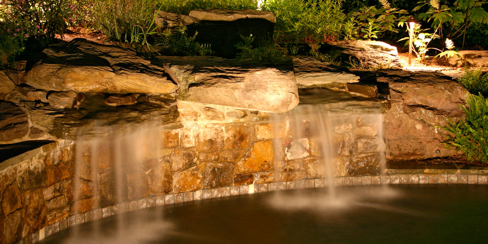 Rock water feature with special lighting