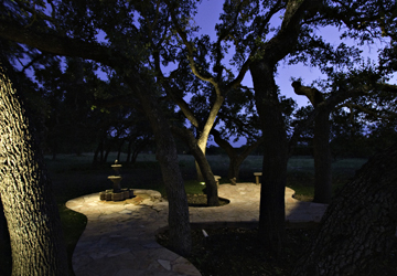Patio with fountain and trees that have special lighting