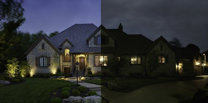 Exterior home split screen, half with LED and half with regular lights