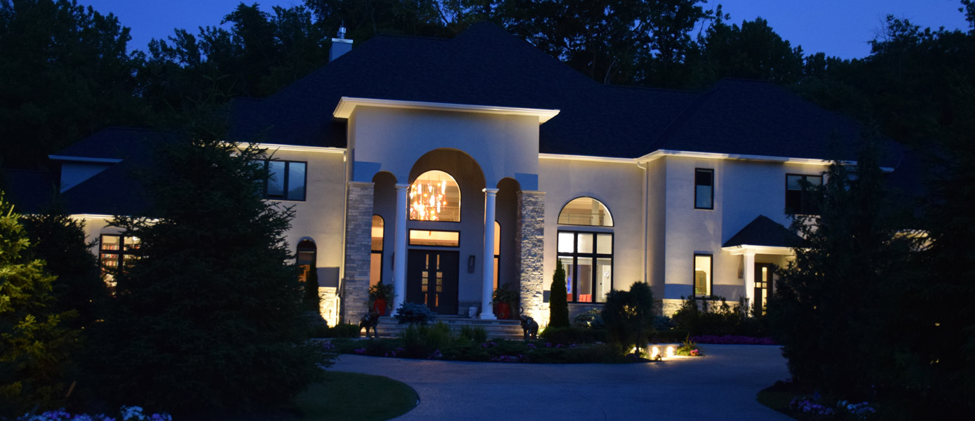 architecture lighting on front of white home