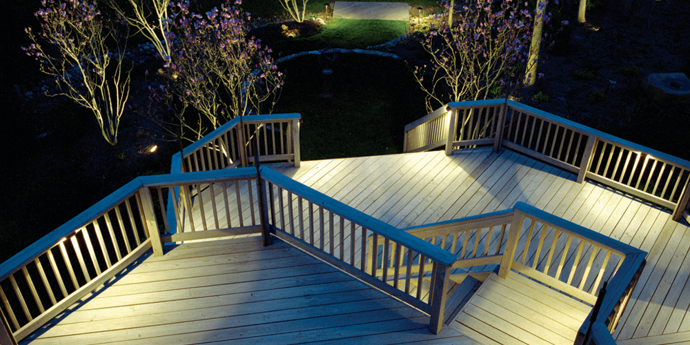 Deck and stairs with professional lighting