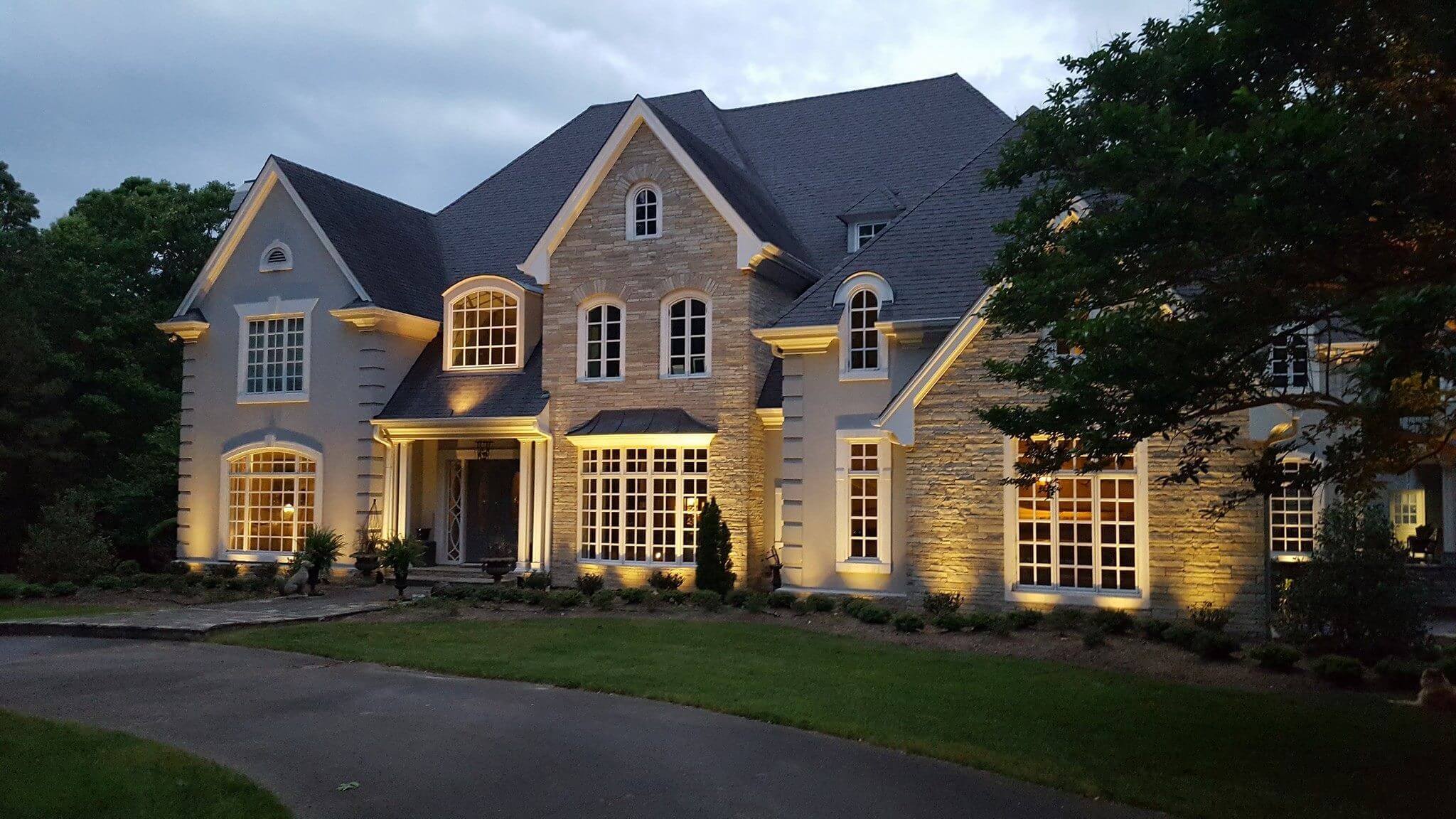 Front of home with special lighting