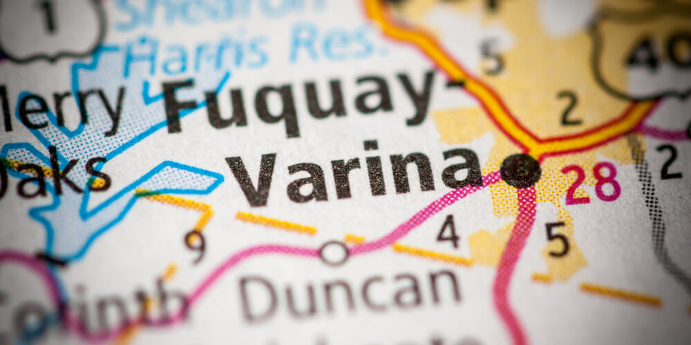 Map close-up showing Fuquay-Varina