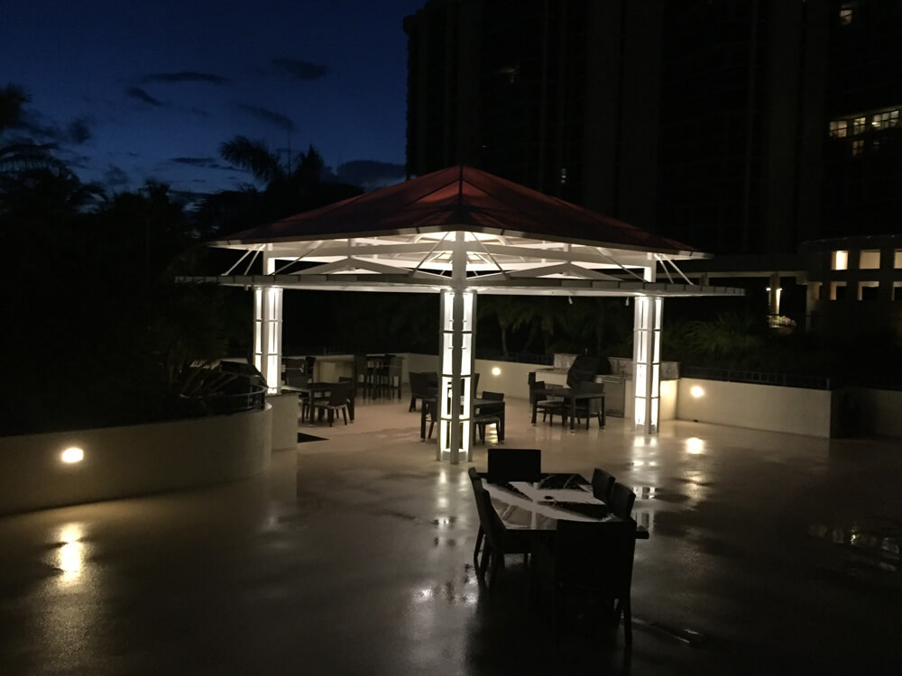 Wide angle shot of a pergola with outdoor lighting