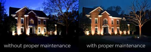Before and after image of home with proper maintenance of outdoor lighting