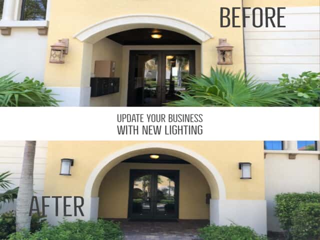commercial outdoor lighting before and after