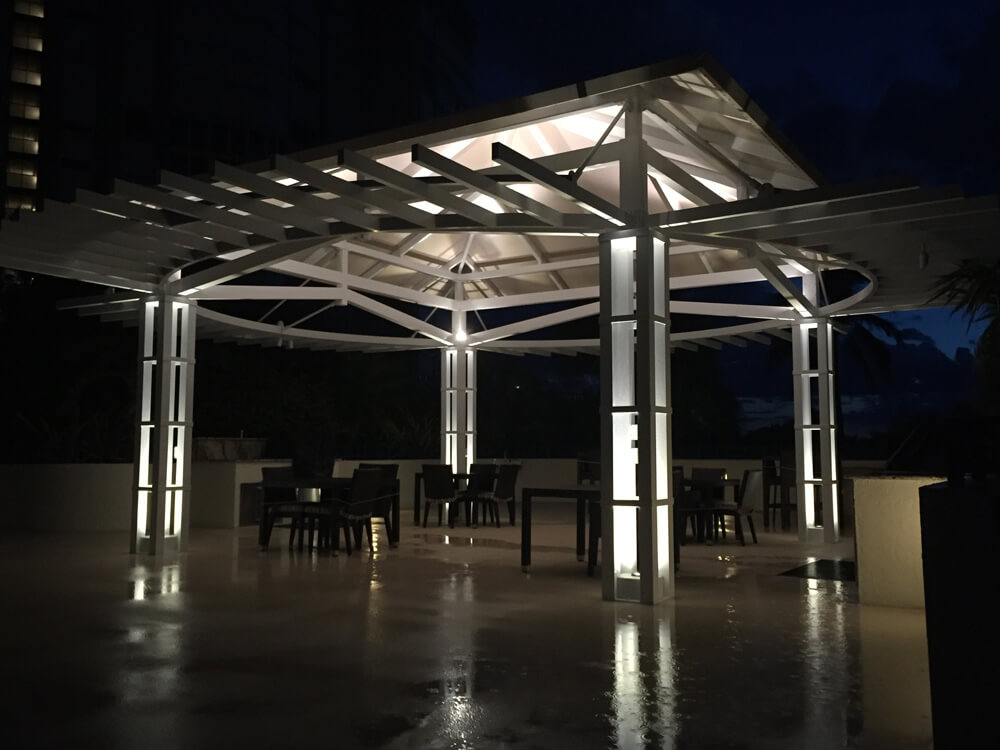 Pergola with outdoor lighting