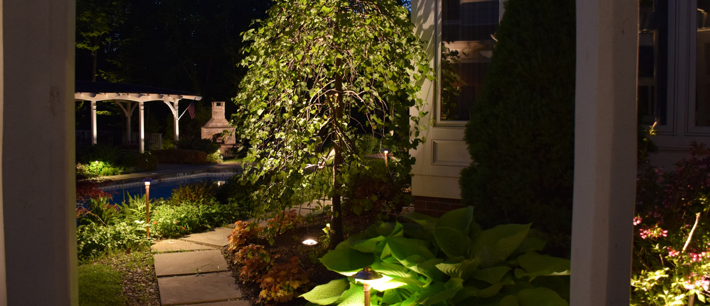 backyard, path, and landscape lighting of Apex home