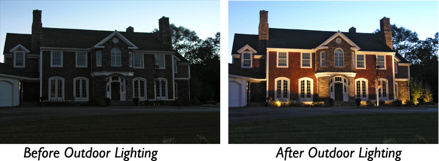 Before and after outdoor lighting