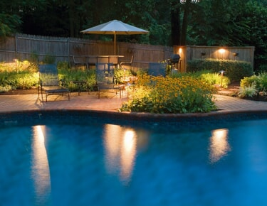 pool lighting with landscape features