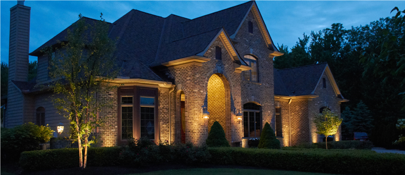 architectural lighting on a brick home