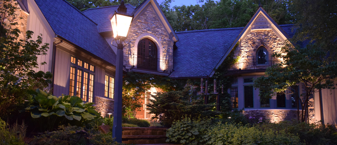 architectural lighting and front porch lighting on Apex home
