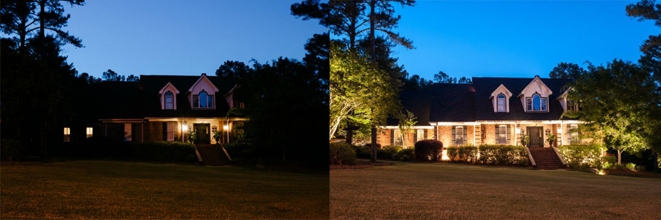 before and after of house without led lighting and with led lighting