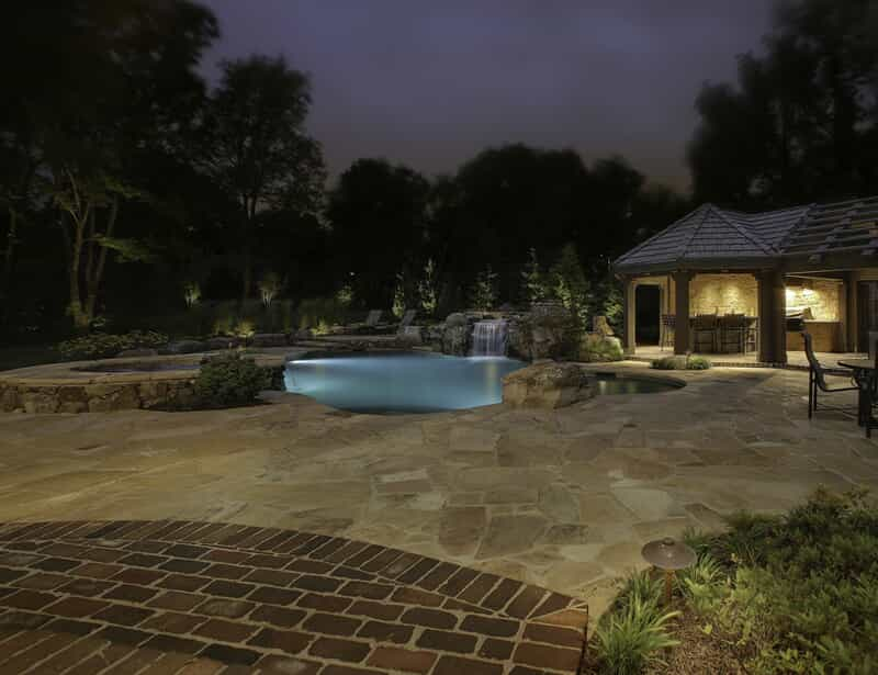 Pool and deck with professional lighting