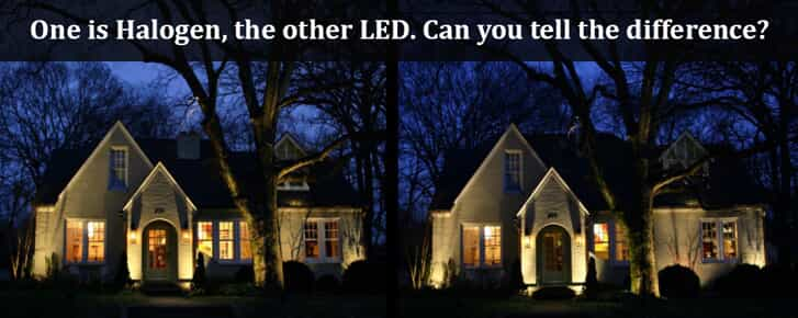 Comparison image of a Halogen lighted house vs a LED lighted house