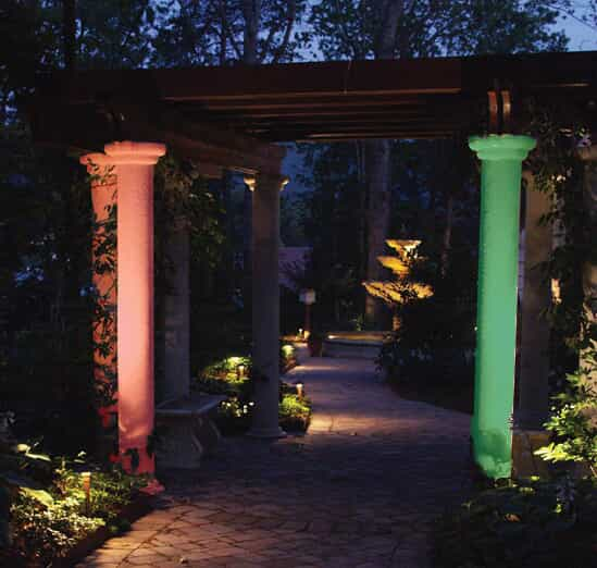 pillars lit by lights