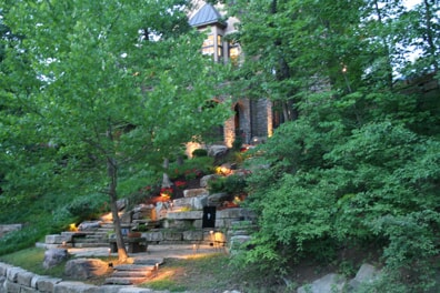 tiered landscape stair lighting