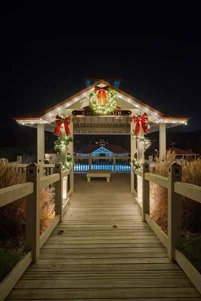 Deck with holiday lighting