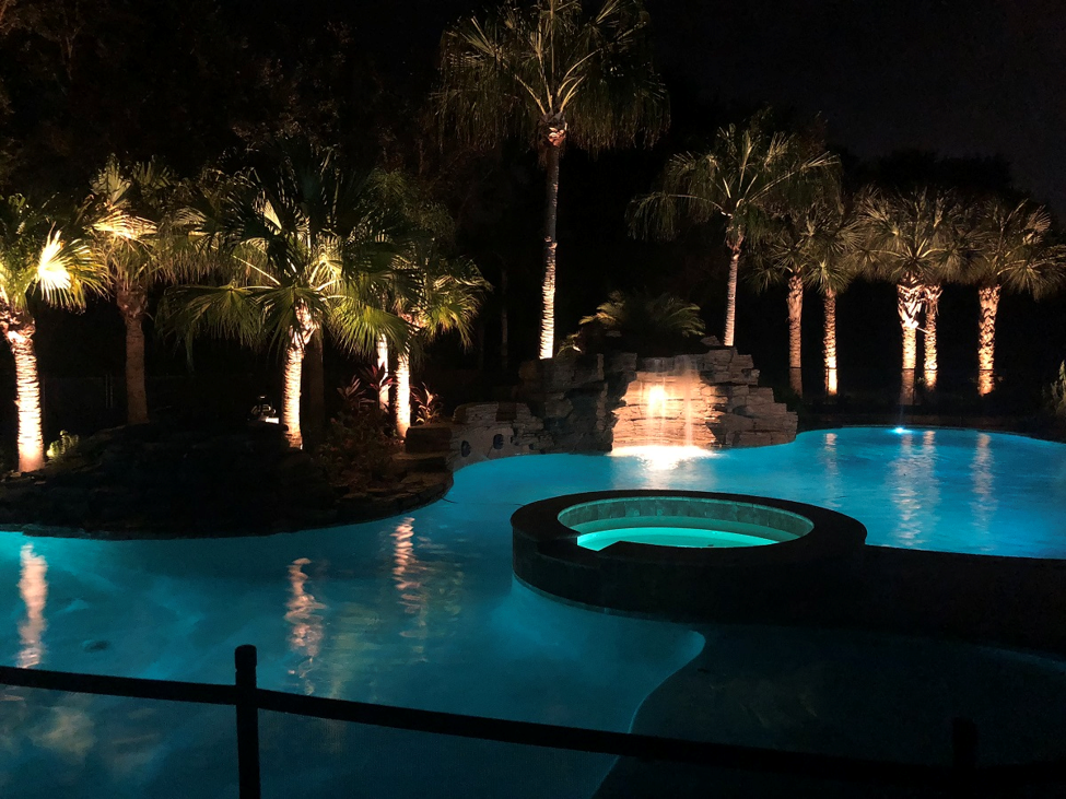 pool lighting and landscape up-lighting