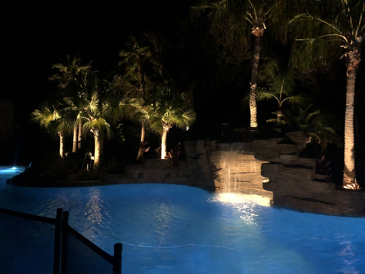 Pool Waterfall Lighting