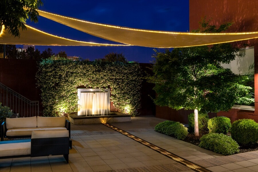 Water Feature and Patio Lighting