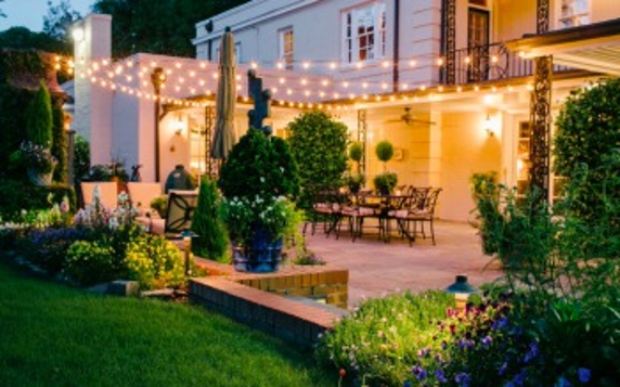 outdoor patio with string lighting