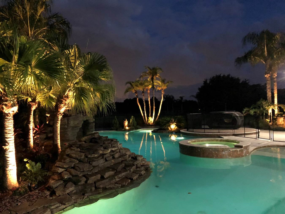 pool lit by OLP lighting