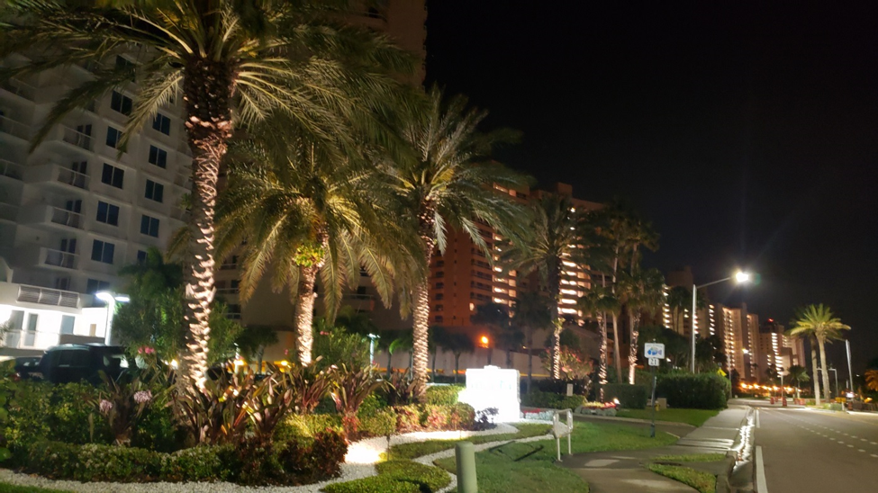 Front of a condo building with palm trees illuminated by OLP lighting