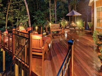 outdoor deck with enhanced lighting