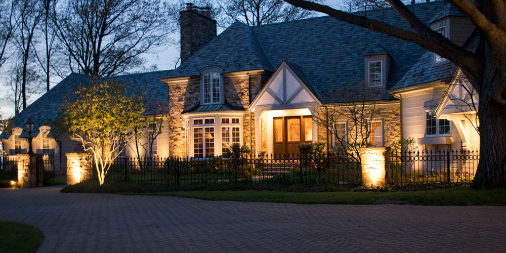 Residential Home with Outdoor Curb Appeal Lighting