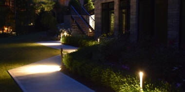 low voltage landscape lighting around path