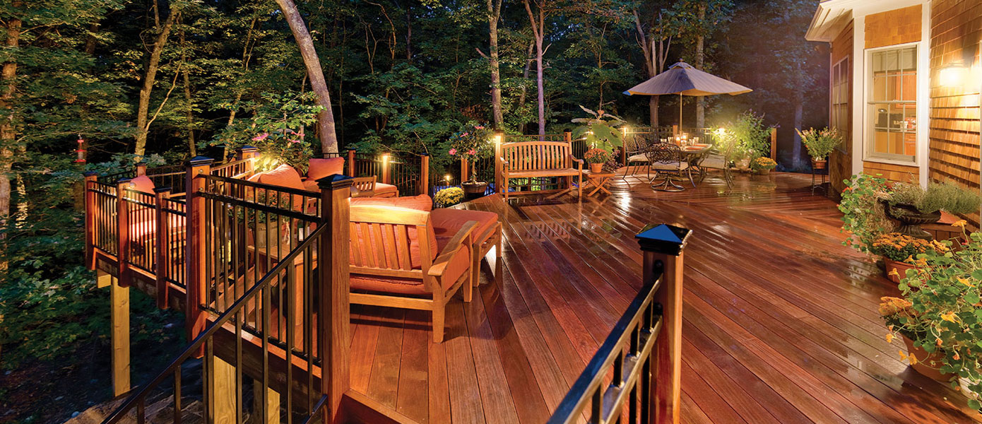deck/patio lighting surrounded by trees