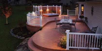 deck lighting in backyard