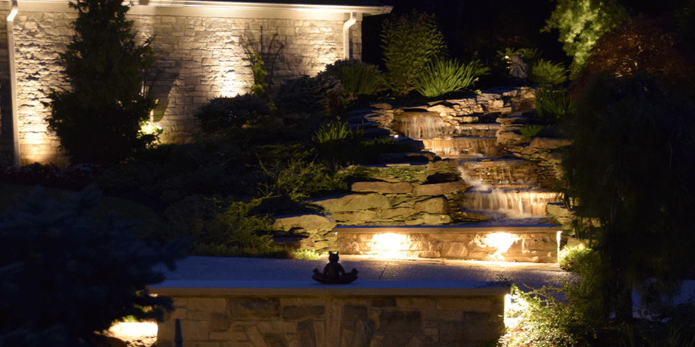 Lit up water feature