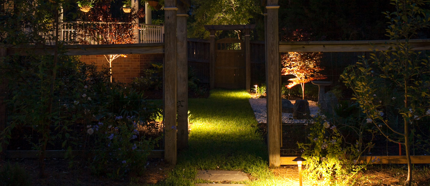 pathway lighting in a backyard